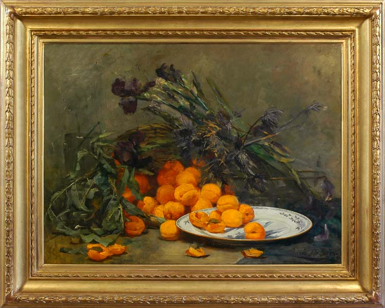 MARIE DE BIEVRE Still life with apricots and iris