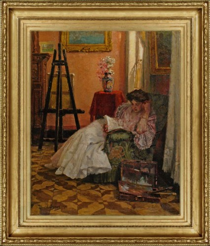 OYENS-David---Young-woman-reading-in-the-studio-