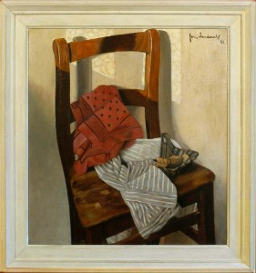 JAN VERDOODT Still life with a chair, shirt and towel