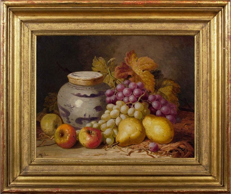 CHARLES THOMAS BALE Still life of pears, apples, grapes and a Chinese jar