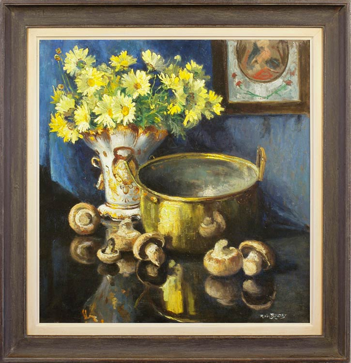 Still life with mushrooms, preserving pan & a vase of daisies, Robert Boudry