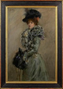 BERNARD FINEGAN GRIBBLE Elegant woman in a plumed hat