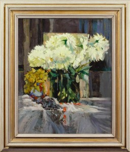 CHARLES SWYNCOP Still life with white flowers