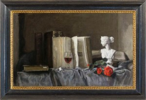 weissbort george a bust of clio with books wine roses
