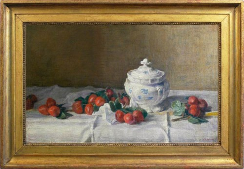 WEISSBORT,-George---Still-life-with-cherry-plums-and-a-blue-&-white-tureen