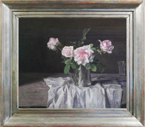 WEISSBORT,-George---Still-life-with-pink-Alba-roses-in-a-silver-tankard