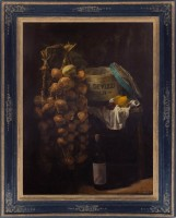 WEISSBORT-George---Still-life-with-onion-plaits,-wooden-cheese-box,-fruit-&-and-a-bottle