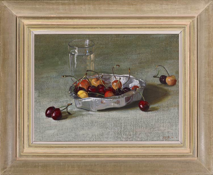 Stephen Rose, Cherries in a foil container with a glass