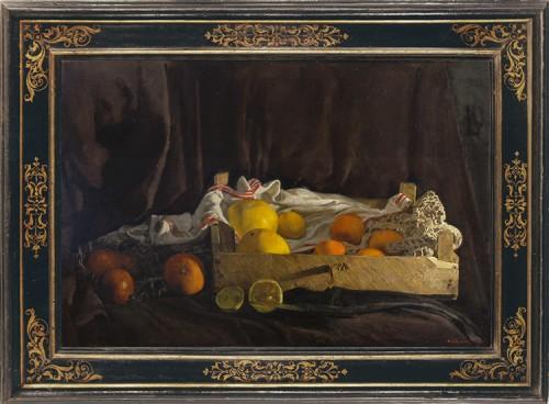 WEISSBORT,-George,-An-arrangement-with-a-box-of-citrus-fruits