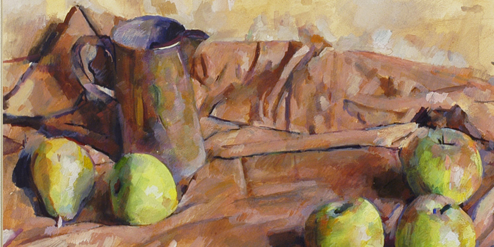 WEISSBORT-George-Arrangement-with-apples-and-pears-and-a-glazed-jug